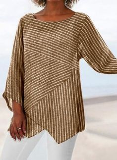 Crew Neck Long Sleeve Paneled Holiday Shirts & Tops Specification : Process: stripe Theme: Spring,Fall,Summer Waistlines: Natural Thickness: Lightweight Occasion: Daily Style: Casual Material: Cotton linen AVAILABLE SIZES: Striped Long Sleeve Shirt, Short Sleeve Blouse, Long Sleeve Shirts, Striped Shirts, Shirts & Tops, Casual T Shirts, Women's Tops, Casual Tops For Women, Blouses For Women