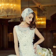 Gatsby Headpiece, Feather Headpiece, Gatsby Wedding, Wedding Day, Wedding Planning Boards, 1920s Glamour, Organza Flowers, Beaded Gown, Timeless Wedding