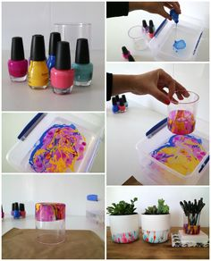 Any DIY requests? DIY Marble Nail Polish Pencil Holder from You'll need:Plastic potNail polish in assorted coloursPlastic container Marble Nail Polish, Nail Polish Crafts, Nail Polish Art, Diy Crafts To Sell, Easy Crafts, Crafts For Kids, Teen Girl Crafts, Girls Night Crafts, Teen Diy