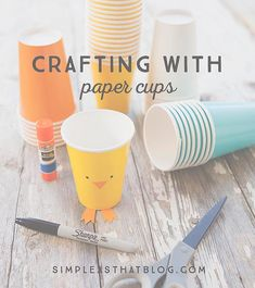 Paper cups come in such a wide range of colors and are available at craft stores, party supply shops or the dollar store - perfect for crafting with kids!