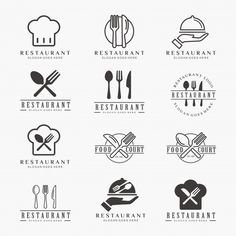 Food logo restaurant Vectors, Photos and PSD files Food Court Design, Food Logo Design, Logo Food, Cafe Logo, Bakery Logo, Logo Restaurant, Restaurant Recipes, Bear Grill, Kitchen Logo