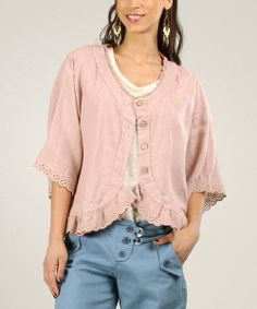 Take a look at the Old Pink Scalloped Linen Jacket on #zulily today!