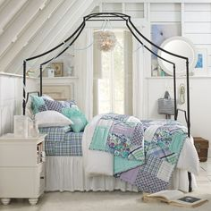 crisp clean white vintage girly purple blue beachy... perfect bedroom inspiration
