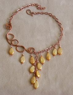 """Opinion Please"" by Little Round Chick. 14g copper wire, pearl drops, seed beads and copper chain. #wire #jewelry #beads"