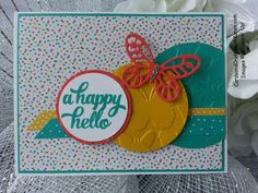 MOJO402 using the Fluttering embossing folder, circles, Cherry on Top DSPS and Tin of Cards stamp from Stampin Up!