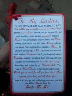Gift to bridesmaids from the bride.  Love it!