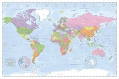 iposters political world map poster miller projection magnetic notice board beech framed x 66 cms approx 38 x 26 inches