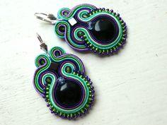 Soutache earrings COLOR Onyx Boho Glamour! de Soutache4You