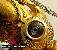 50 LOOKS - goldene echt Vintage Kette mit Auge von Schloss Klunkerstein - Uhren, von Hand gefertigter Unikat - Schmuck aus Naturmaterialien, Medaillons, Steampunk -, Shabby - & Vintage - Schätze, sowie viele einzigartige und liebevolle Geschenke ... auf DaWanda.com