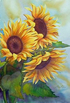 Girasoles Sunflowers Large Watercolor Painting in Yellow by sherryroper Oil Painting Flowers, Watercolor Flowers, Watercolor Paintings, Sunflower Watercolour, Watercolors, Floral Paintings, Easy Watercolor, Motif Floral, Arte Floral