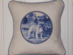 shabby chic feed sack french country delft French Bull dog pillow sham by kreativbyerika, $30.00