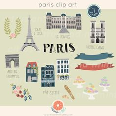 Paris Digital Clip Art - 21 Hand Drawn Illustrations - Commercial Use - .png files - instant download