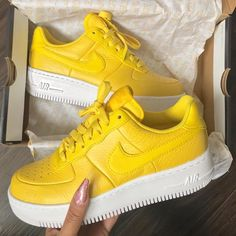 Bright yellow Nike Air Force ones Sock Shoes, Women's Shoes, Me Too Shoes, Nike Shoes, Shoe Boots, Shoes Sneakers, Shoes Trainers Nike, Stilettos, Pumps