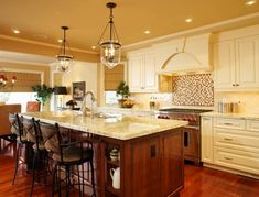 country kitchen designs with islands - bing images | Kitchen Lighting Ideas for Your Beautiful Kitchen