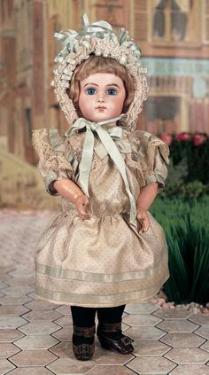 "Lovely French Bisque Bebe Jumeau E.J.,Size 5,in Antique Silk Costume 14"" (36 cm.)"