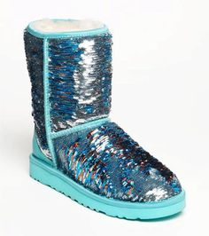 UGG® Australia 'Classic Short Sparkle' Blue UGG Sequin Boots ! WANT NOW!!!!!!!