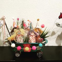 Spring Party wagon craft workshop being held on February 15 & 16.  Come make this adorable wagon full of girls and pulled by butterflies. Kits all presewn and everything you need.  Enjoy a fun, creative evening with friends. Sign up in my website www.danaengemanndesigns.com #handmade #recycled #diy #diycrafts #butterflies