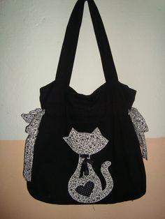 bolsa de tecido preta com detalhe de gato lovely bag