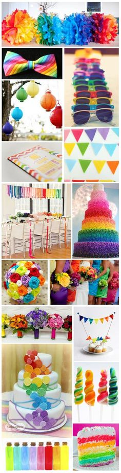 Paint a Rainbow Theme - I'm not a fan of the bouquets, or the bridesmaids, but all the rest gets my vote on how to decorate a rainbow wedding. Wedding Themes, Wedding Colors, Diy Wedding, Wedding Flowers, Dream Wedding, Wedding Decorations, Wedding Happy, Wedding Ideas, Rainbow Theme