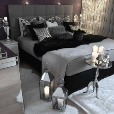 inspiration #décoration #chambre #gris #noir #bedroom #grey #black