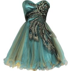 Amazon.com: Fiesta Formals Metallic Short Peacock Prom Homecoming... (2.145 CZK) ❤ liked on Polyvore featuring dresses, green cocktail dress, green bridesmaid dresses, formal cocktail dresses, metallic bridesmaid dresses and turquoise prom dresses