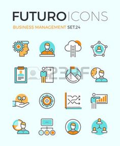 productivity: Line icons with flat design elements of business people organization, human resource management, company seminar training, career progress. Modern infographic vector logo pictogram collection concept.