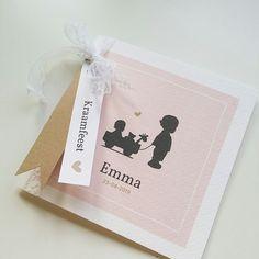 Geboortekaartje met silhouet jongen en baby meisje in kar geboortekaartje | birthannouncement | babykaart | geboortekaart | baby