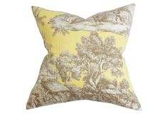 Toile 18x18 Cotton Pillow, Yellow