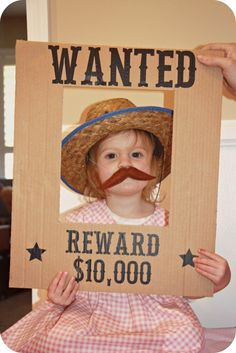 "homemade by jill: Lilly's Cowgirl Party - super cute with photo booth props & panning for ""gold""."