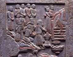 Detail from Sogdian-Zoroastrian Funerary Couch from nothern China. The panel show a soul crossing the chinvat bridge. While on this earth, the soul had the freedom and opportunity to chose the nature of its spirit and a person's every deed. When separated from the body after death, the soul no longer has the opportunity to influence its destiny. That fate will be decided when it reaches the bridge of the requiter - the chinvat bridge. Late 6th to early 7th C. Miho Museum, Japan.