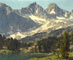 """Edgar Payne """"Mount Gayley and Mount Sill, Big Pine, High Sierras, California"""" Oil on canvas 25 x 30 in. Mountain Art, Mountain Landscape, Landscape Artwork, Watercolor Landscape, Paintings I Love, Beautiful Paintings, Oil Paintings, Edgar Payne, Gauguin"""
