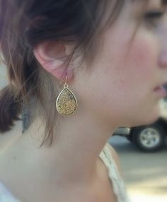 Gold and Copper Druzy Drop earrings by stitchandstonedesign, $28.00