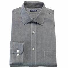 Men's Croft & Barrow® Fitted Herringbone Spread Collar No Iron Dress Shirt Mens Dress Outfits, Men Dress, Collar Dress, Dress Shirt, Sharp Dressed Man, Work Shirts, New Wardrobe, Herringbone, Work Wear