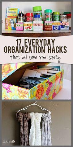 17 Organization Hacks To Save Your Sanity #howdoesshe #organizing howdoesshe.com