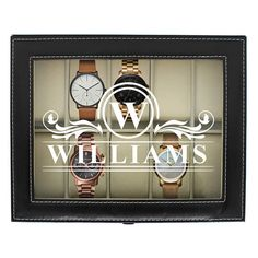 This unique watch case is the perfect gift for any watch lover in your life.  This watch box has a classic design that comes in black or brown leather with off-set stitching and a custom engraved glass display making it a perfect gift.  This case holds up to 10 watches.  Watch