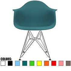 2xhome - Teal - Plastic Armchair with Eiffel Legs Dinning Chair Eames Style Molded Plastic Wire Chair Base (DAR) Legs - blue-green color