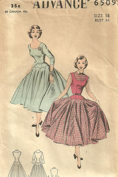 Vintage Fifties Sewing Pattern from Advance 6509