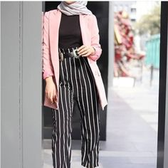 Striped pants and ruffle blouses hijab outfits Just Trendy Girls Hijab Outfit, Hijab Casual, Casual Outfits, Hijab Fashion Summer, Muslim Fashion, Mode Outfits, Fashion Outfits, Women's Fashion, Fashion Tips