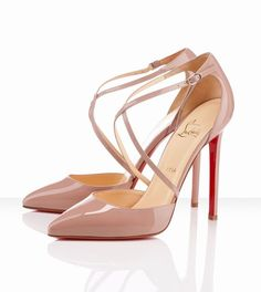 ~~~~(>_<)~~~~  Christian Louboutin Crosspiga 120mm Nude ,↔↖↔↗ FOR MY HOLIDAY... ❤❤♥