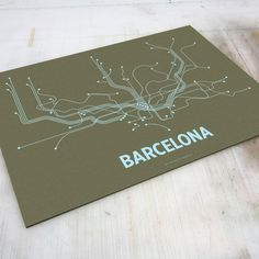 Barcelona Screen Print Olive by Lineposters
