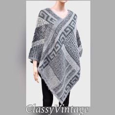 12/23 arrival.Greek key pattern ponch. Beautiful knit poncho in shades of grey. 40 X 40 in size. $34.00 Boutique Jackets & Coats Capes