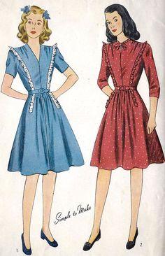 1940s Teen Age Dress with Ruffling