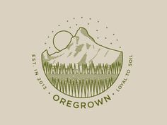Just because I can't get enough of these landscape illustrations. This is a completed piece for Oregrown, a pretty cool place in Bend, Oregon. The illustration represents part of the Cascade Range . Graphic Design Branding, Logo Branding, Logos, We Will Rock You, Start Ups, Typography, Lettering, Cool Logo, Logo Nasa
