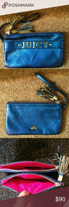 "Juicy Couture Wristlet Double zipper pocket juicy couture wristlet is in excellent condition. Only used a few times. Electric blue with gold accents. Measures 8""L X 5""H. Gorgeous wristlet. Juicy Couture Bags Clutches & Wristlets"