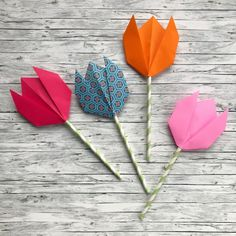 Origami Tulips Easy-peasy Origami Tulips – The Bear & The FoxEasy-peasy Origami Tulips – The Bear & The Fox Sunday School Crafts For Kids, Mothers Day Crafts For Kids, Crafts For Kids To Make, Kids Origami, Origami Easy, Origami Paper, Tulip Origami, Mothers Day Gifts Uk, Mother's Day Activities