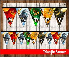80% OFF SALE Ninjago Triangle Banner instant par mrkitspartyshop