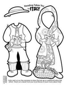 Italy paper doll clothes (link has boy and girl pattern with other countries--China, Mexico, Old West) Around The World Theme, Holidays Around The World, We Are The World, Around The Worlds, Multicultural Activities, Learning Activities, Kids Learning, Italy For Kids, Little Passports