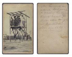 The gallows on which Rodgers (a soldier), Garza, Vicente Garcia, & Vela were hanged at Brownsville, Texas in 1866