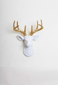Gift Ideas for Him Her & Couples - The MINI Winston - White Faux Taxidermy - White W/ Gold Glitter Antlers Resin Deer Head
