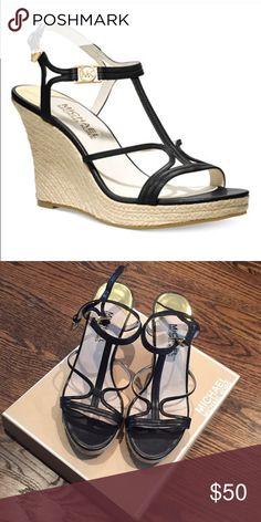 "Michael Kors Cicely Wedge Platform Sandal Strapped wedge espadrilles sandals with 3 3/4"" heel and 1"" platform. Black leather with gold MK logo on ankle strap. Excellent condition - only worn once! MICHAEL Michael Kors Shoes Wedges"
